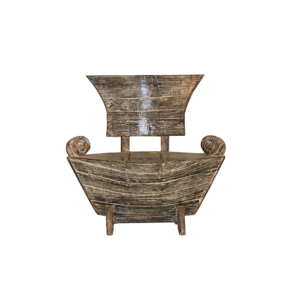 Teakholz Bootssessel White Wash 100 cm Gartensessel Gartenmöbel Sessel