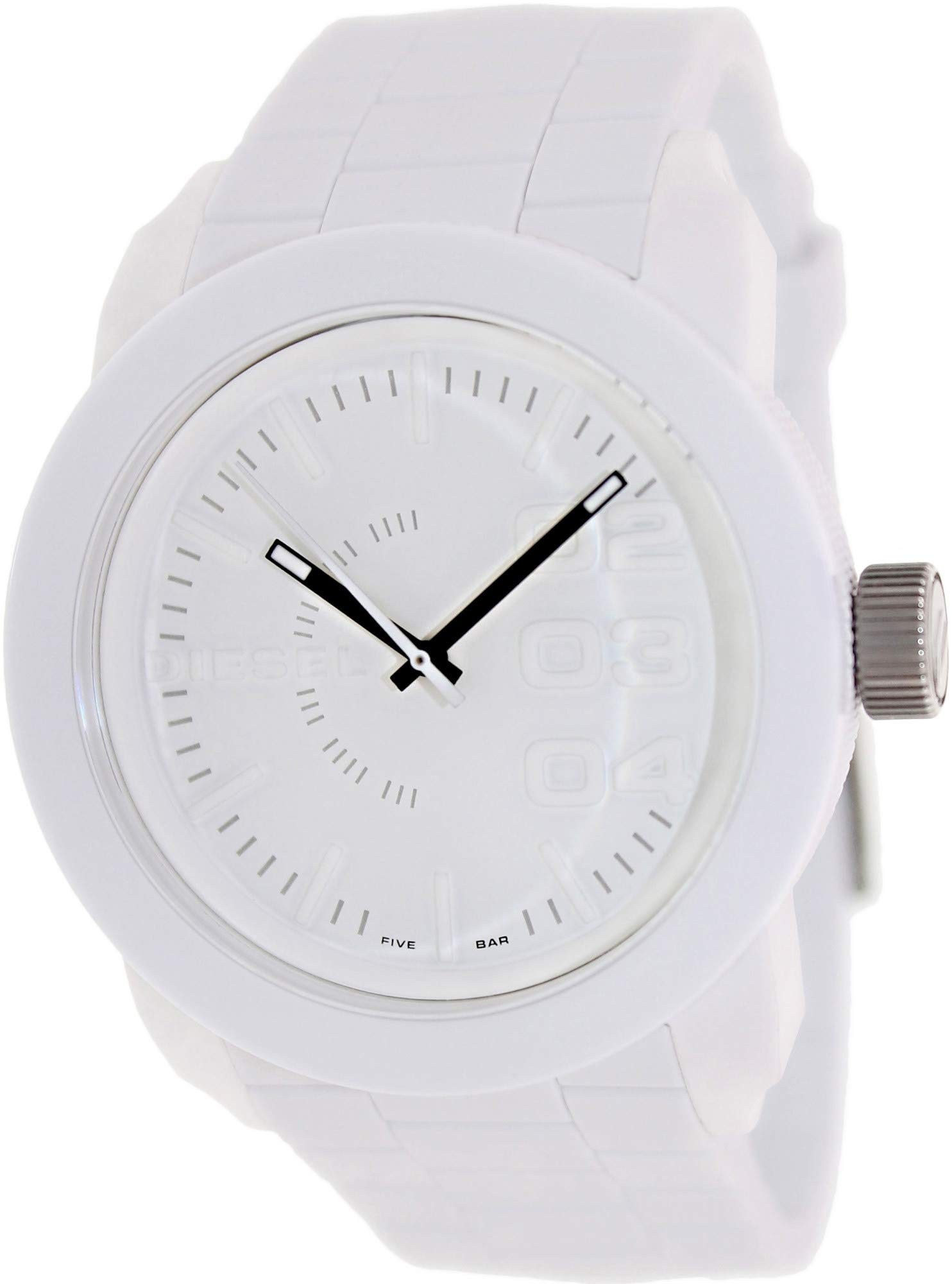 Diesel Men's Double Down Quartz Stainless Steel and Silicone Casual Watch, Color: White (Model: DZ1436) by Diesel