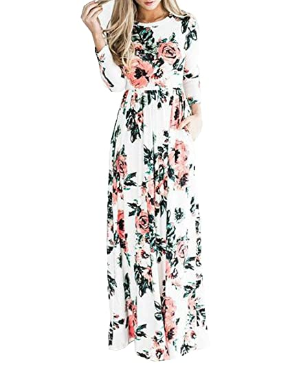 5f6e8f7f4a1a OSNIC Women Floral A-Line Print Long Sleeve Boho Dress Ladies Evening Party Dress  Long Maxi Casual Dress at Amazon Women's Clothing store: