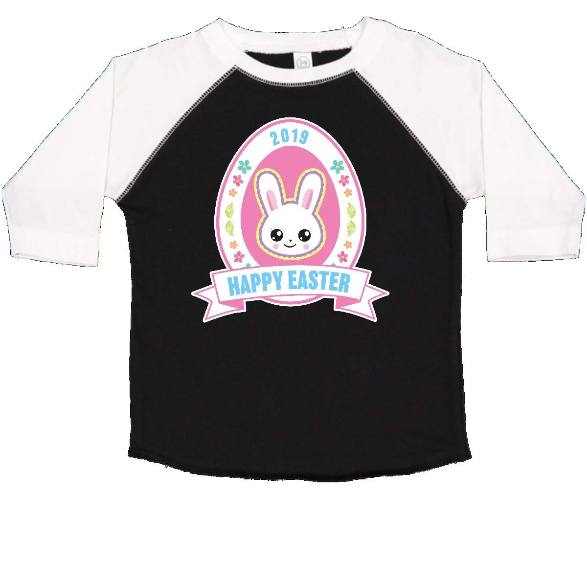 inktastic Happy Easter Banner with Bunny Face and Flowers Toddler T-Shirt