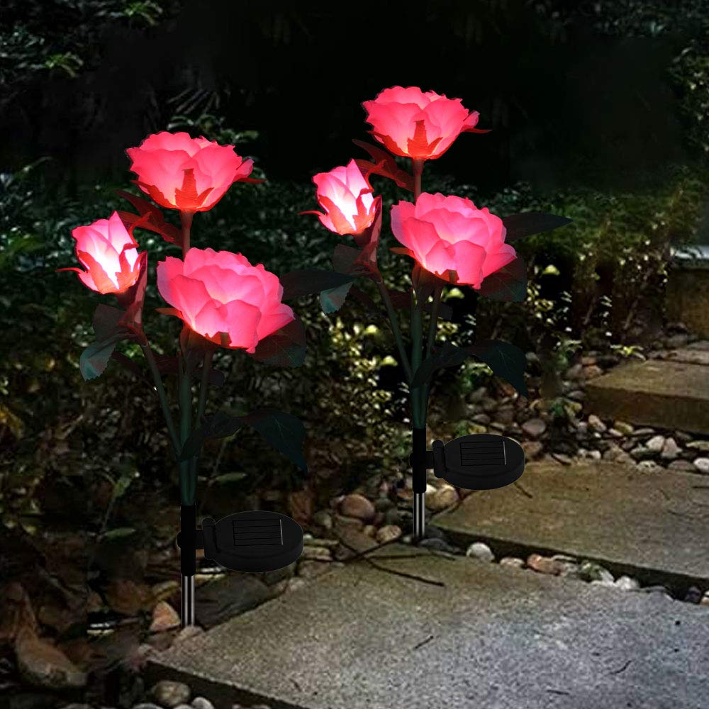Solar Garden Stake Lights Outdoor Decorative LED Color Changing Solar Powered Rose Lights Waterproof for Garden, Courtyard, Backyard Decoration Perfect Valentine's Day Gift (Pink)