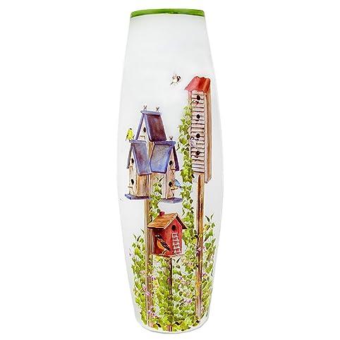 Stony Creek 12 Tall Oval Lighted Glass Vase Folk Art Spring