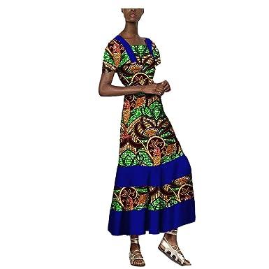 Vestido Largo Africano para Mujer, Estampado de Cera, Manga Corta ...