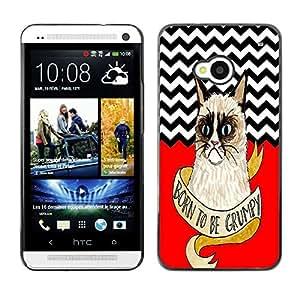 - Chevron Grumpy Cat - - Monedero pared Design Premium cuero del tir¨®n magn¨¦tico delgado del caso de la cubierta pata de ca FOR HTC 801e HTC One M7 Funny House