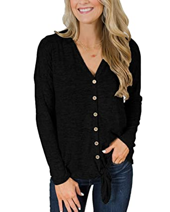 Image Unavailable. Image not available for. Color  Womens Casual Long  Sleeve Sweater V Neck Button Down ... 211b43bf6