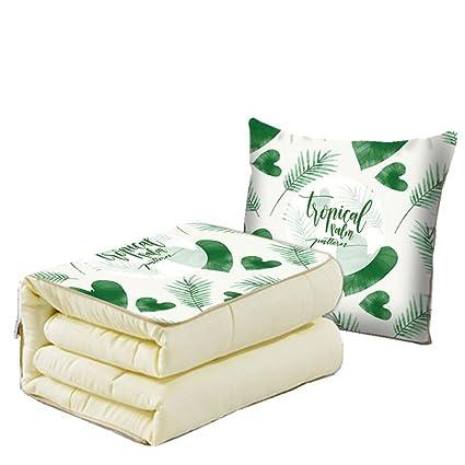Hante cojín manta verde hojas flores estilo doble propósito ...