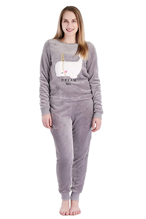 Dolcevida Women's Warm Fleece Sleepwear Long Sleeve Pajama Set (L, Grey) best women's winter pajamas