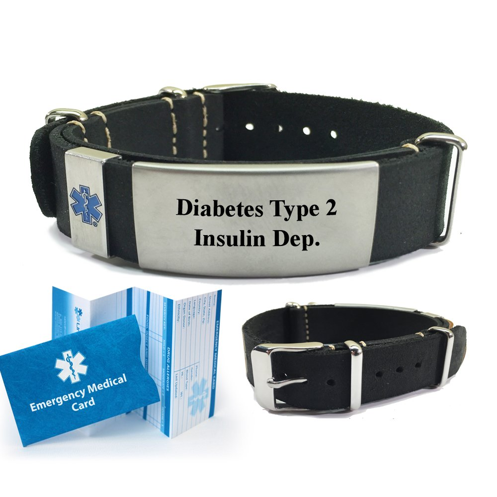 Amazon.com: Diabetes Type 2 Insulin Dependent Leather Nato Style Medical ID Bracelet. Choose Color!: Health & Personal Care