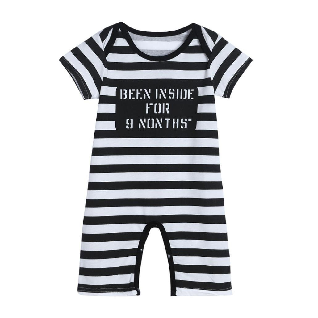 Igemy Newborn Infant Baby Kids Boys Girls Stripe Print Romper Jumpsuit Outfits Clothes Cute
