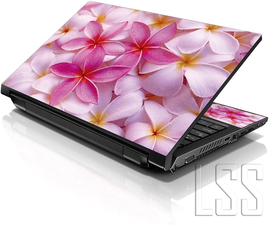 """LSS 15 15.6 inch Laptop Notebook Skin Sticker Cover Art Decal Fits 13.3"""" 14"""" 15.6"""" 16"""" HP Dell Lenovo Apple Asus Acer Compaq (Free 2 Wrist Pad Included) Pink Plumeria Flower"""