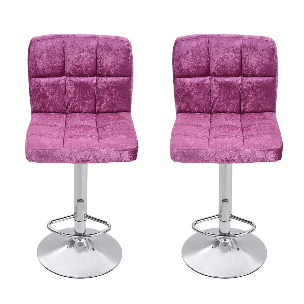 CreazyBee 2PC Modern Home Bar with Snowflake Velvet Bar Chair Seat Plating Foot (Hot Pink) by CreazyBee