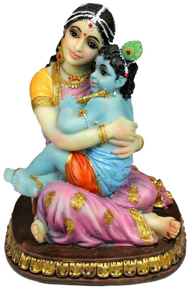 "Precious Yasoda Krishna Statue 5"" Hindu Mother Yashoda Figurine Golu Doll"