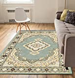 Well Woven Antique Medallion Blue Traditional Persian Oriental Floral Border Tribal 2 x 3 (2'3'' x 3'11'') Area Rug Low Thin Pile Great Value Easy to Clean Stain & Fade Resistant