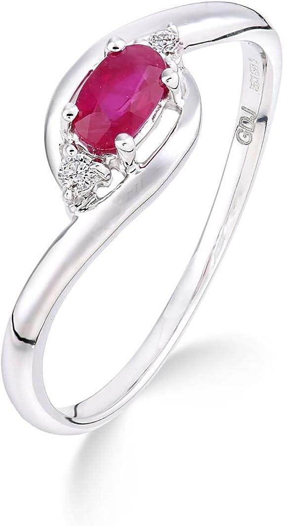bague rubis - bague en or blanc et diamants