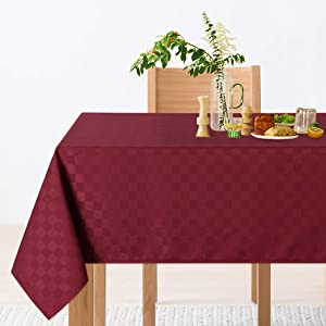 CAROMIO Red Rectangle Tablecloth,Oil-Proof/Waterproof Checkered Decorative Oblong Table Cloth Table Cover for Dining, Kitchen, Wedding and Parties(Rectangle,52 x 70 Inch,Burgundy)