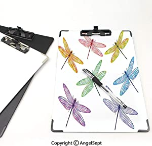 Printed Clipboards Office Document,Dragonfly,Clipboards Low Profile Clip,Writing Board,Paper Clip,Group of Dragonflies with Colored Patches Elongated Body Winged Animal Design,Multicolor