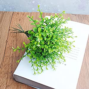 FYYDNZA 1 X Artificial Mini Plastic Plant Eucalyptus Herb 5 Branches For Home Decoration Green Wedding 120
