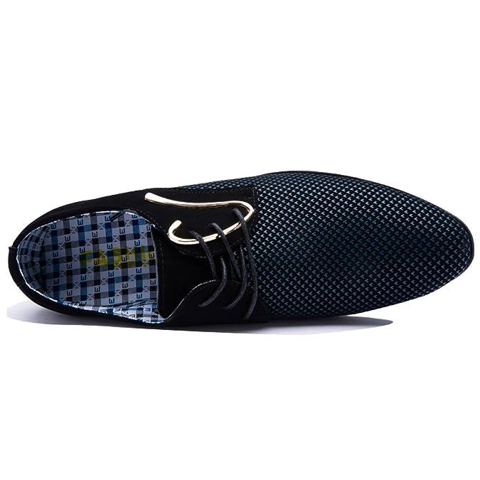 Blivener BlivenerCasual - Zapatos Planos con Cordones Hombre, Color Azul, Talla 39.5 EU