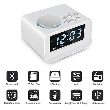 WULAU Reloj Despertador Digital Radio Reloj Dual Bluetooth 4.2 Entrada Auxiliar/Tarjeta TF/U Altavoz de Disco Reloj Despertador Fuente de alimentación ...