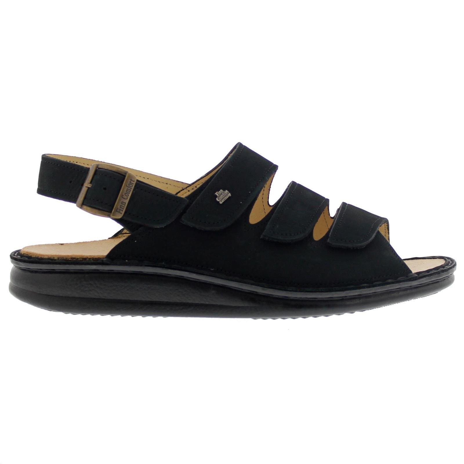 Finn Comfort Womens 2509 Sylt Black Nubuck Sandals 39 EU