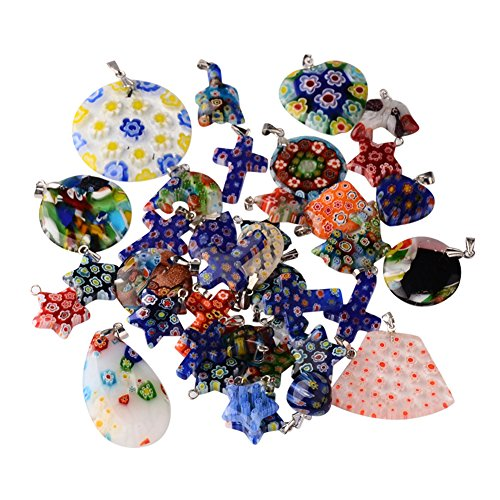 NBEADS 200g Mixed Shape Handmade Millefiori Glass Pendants, with Platinum Tone Brass Findings, Mixed Color, 15~43x14~39x3~14mm, Hole: 2x4mm; about 45pcs/200g
