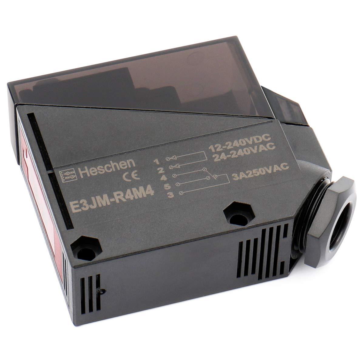 Heschen Fotoelektrischer Schalter E3JM-R4M4 DC 12-240V 3A 250V AC 30V DC 24-240V AC Diffusentyp Erfassungsabstand 4m