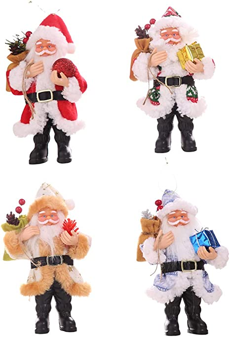 Nuxn 4 Pcs Miniature Christmas Figurines Resin Santa Claus Statue Ornament Santa Claus Christmas Standing Decoration Small Xmas Tree Hanging Decorations Amazon Ca Home Kitchen