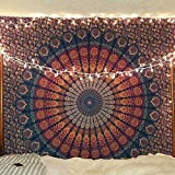 Indian hippie Bohemian Psychedelic Peacock Mandala Wall hanging Bedding Tapestry (Golden Blue, Twin(54x72Inches)(140x185cms))