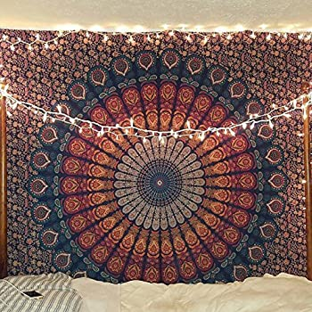 Indian hippie Bohemian Psychedelic Peacock Mandala Wall hanging Floral Gold Bedding Tapestry (Queen(84x90Inches)(215x230Cms), Golden Blue)