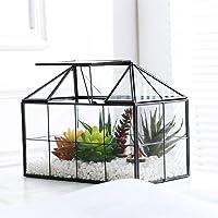 Purzest Glass Terrarium,House Shape Close Glass Geometric Terrarium Tabletop Succulent Plant Box Planter