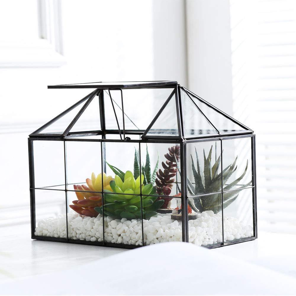 Purzest Glass Terrarium,House Shape Close Glass Geometric Terrarium Tabletop Succulent Plant Box Planter by Purzest