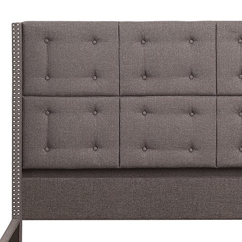 Rosevera Home Ciosa Upholstered Button Tufted Panel Bed with Headboard and Wooden Slats, King