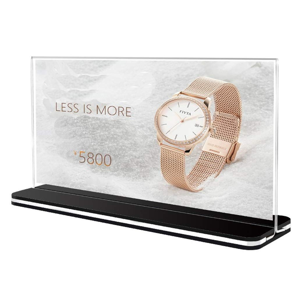 MDBYMX Menu Holder Menu Holder A4 Size Logo Shows Holder, Acrylic and Plastic, White, one Pack of 3 A4 Display Stand (Color : A, Size : 297×420mm) by MDBYMX