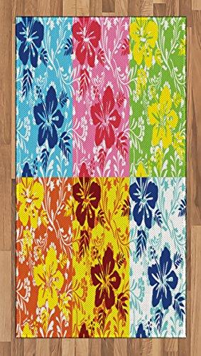 Lunarable Hawaiian Area Rug, Tropical Colorful Blooming Hibi