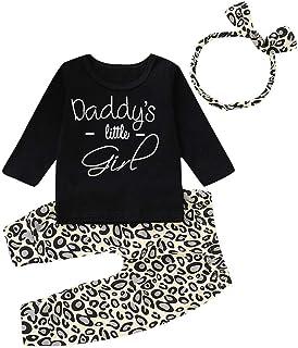 Jimmackey Bambina Lettera Manica Lunga Cime + Leopard Pantaloni Neonata Vestiti Set