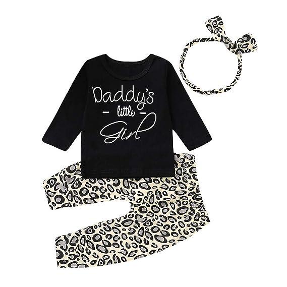 Subfamily Conjuntos de Ropa para bebés niña, bebé Manga Larga Carta Top Leopardo Pantalones Traje papá 3 Meses a 2 años: Amazon.es: Ropa y accesorios
