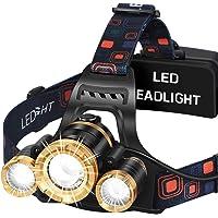 Headlamp MAS MODO LED Brightest 6000 lumens Flashlight USB Rechargeable Work Headlight,IPX4 Waterproof & 18650…