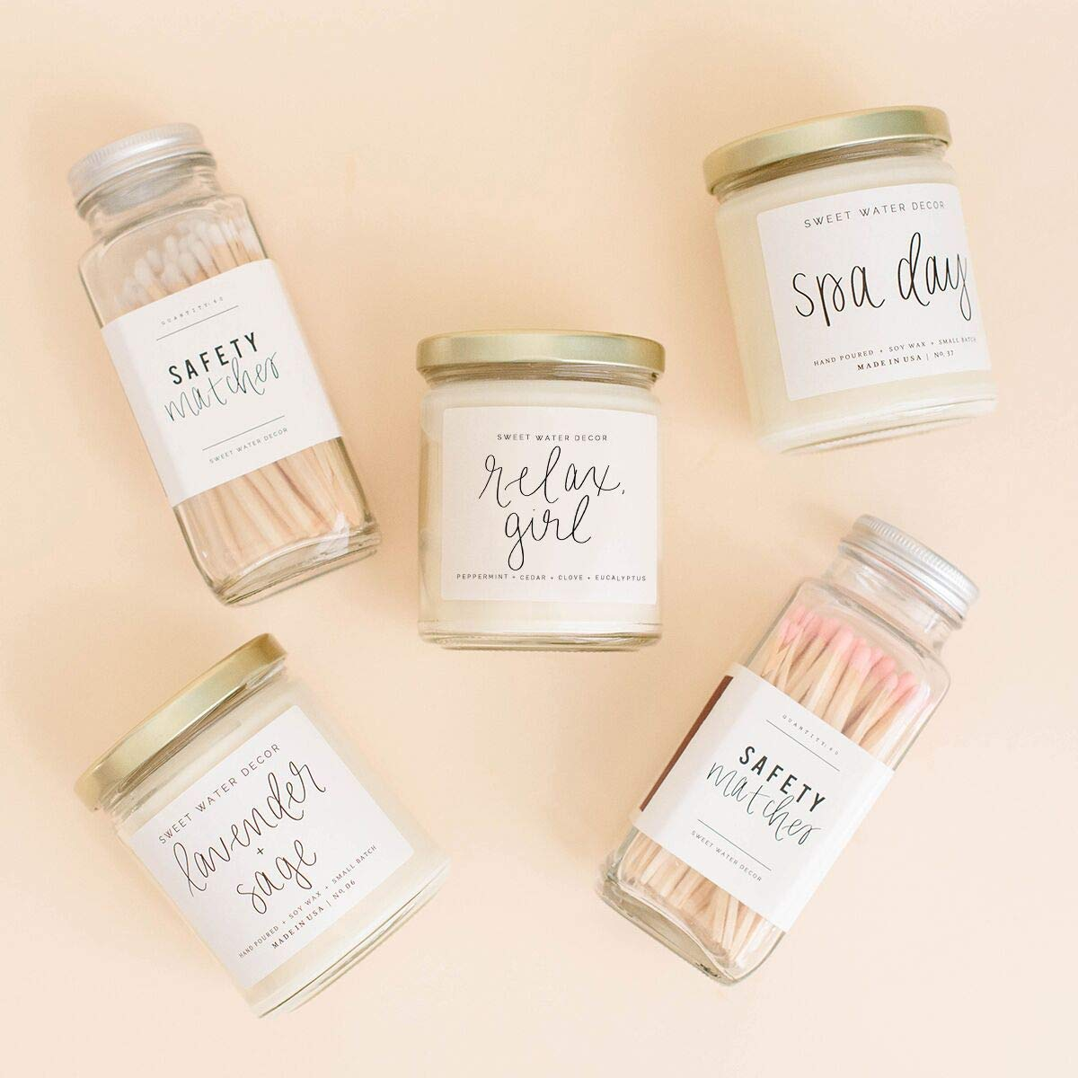 Sweet Water Decor LETS STAY HOME Soy Wax Candle Scented Candles Motivational Quote Candles Inspirational Gifts Relaxing Scent Restful Fragrance Peaceful Aromatherapy Candles Cozy Weekend Hygge Candle