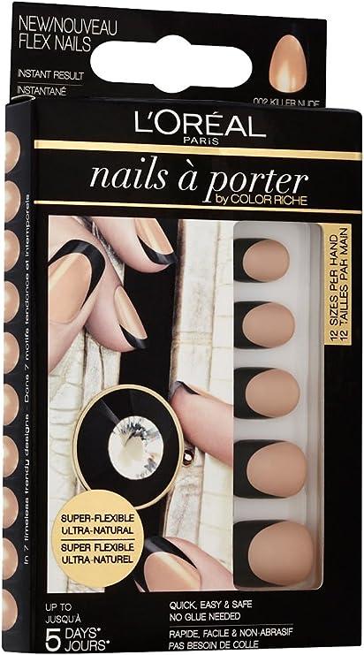 LOréal Paris Nails a Porter Flex 002 Killer Nude - estuches de extensiones de uñas (Killer Nude, Negro, Oro): Amazon.es: Belleza