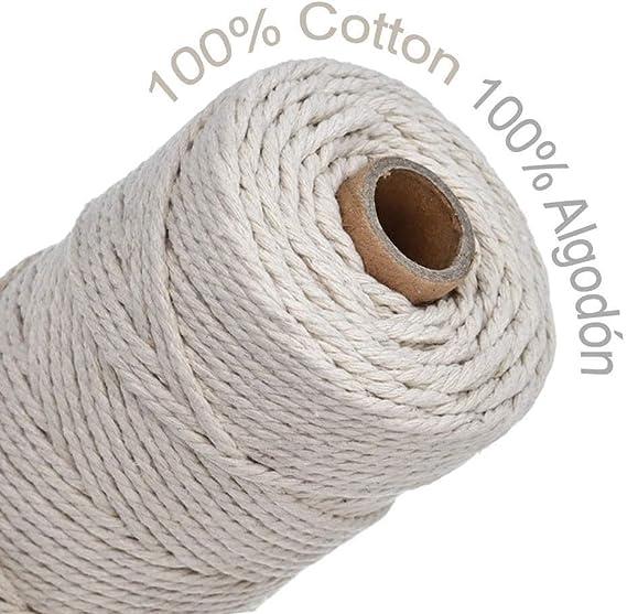 100 Yards 100 Yards-1 Ruby Corde macram/é 5mm en Coton Naturel et Corde tress/ée pour d/écoration et Loisirs cr/éatifs
