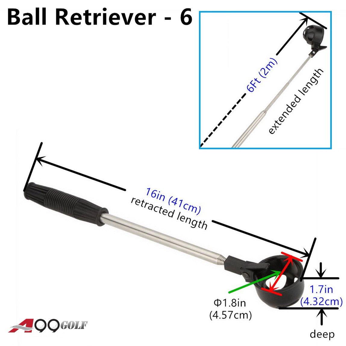 A99 Golf 6ft Telescopic Ball Retriever Pick Up Retractable Scoop Steel Shaft