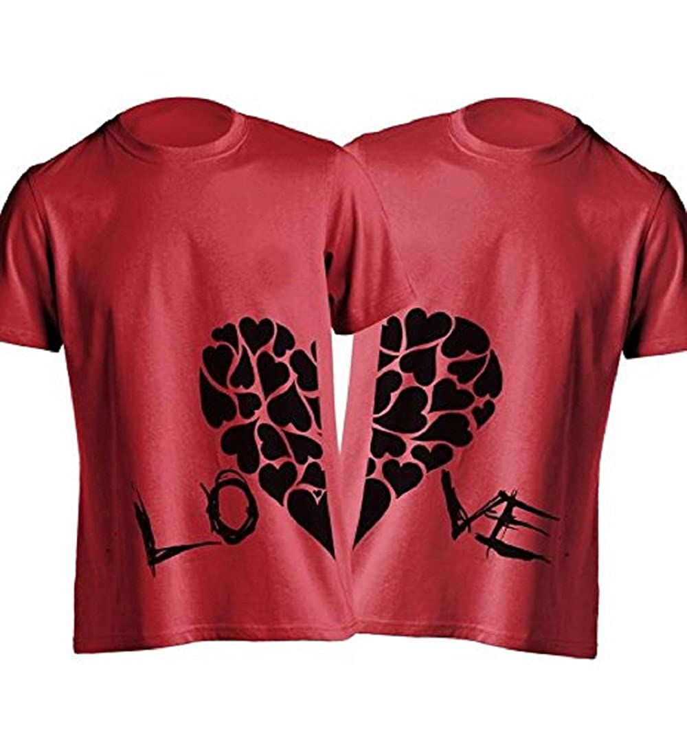 b20d10e824 Young Trendz Men's Cotton Love Heart Printed Bio-wash Couple Tshirt:  Amazon.in: Clothing & Accessories