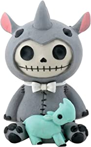 SUMMIT COLLECTION Furrybones Rhino Buster Signature Skeleton in Rhinoceroses Costume with Baby Blue Rhino