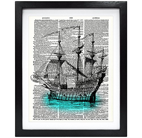 Susie Arts 8X10 Unframed Vintage Ship Upcycled Vintage Dictionary Art Print Book Art Print Home Decor Funny Art Print Office Wall Art V085