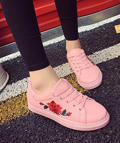 Minetom Casual Vintage Womens Rose Print Dance Shoes Wedge Heel Canvas Low-Top Anti-Slip Sneakers A Pink wyL6gMUz9n