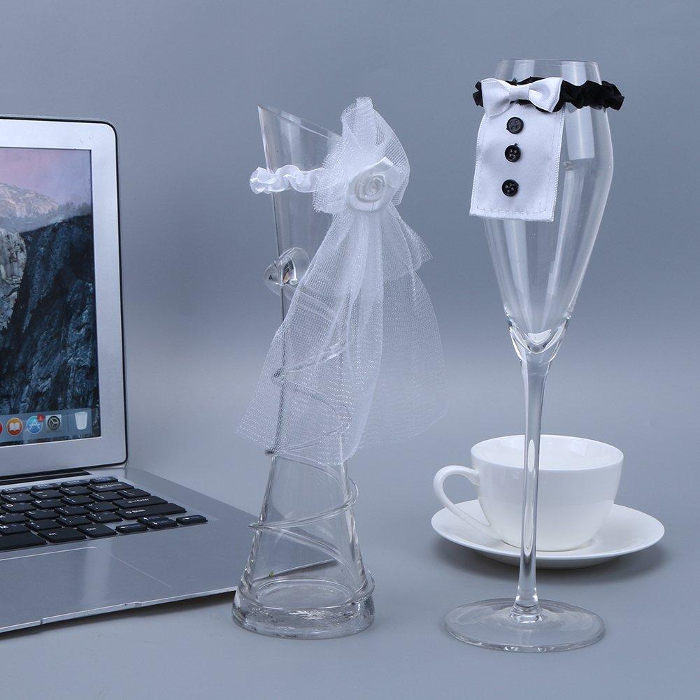 takestop/® Set 2 Pezzi Sposo Sposa Decorazione Calice Flute Champagne Bicchiere Vino Sposa Velo Smoking Party Festa Wedding Gadget