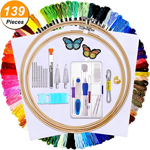 Bememo Embroidery Cross Stitching Punch Needle Kit Includes Embroidery Pen, Bamboo Embroidery Hoop and Cross Stitch Cloth 100 Pieces Cross Stitch Threads and Other Applicable Tools by Bememo