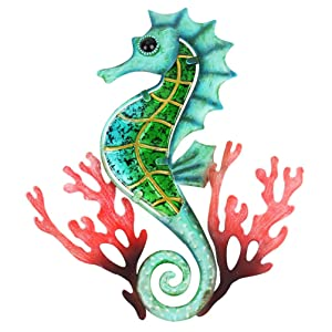 HONGLAND Metal Seahorse with Coral Wall Decor Indoor Art Sculpture Hanging Glass Decorations Blue for Home Garden Bedroom