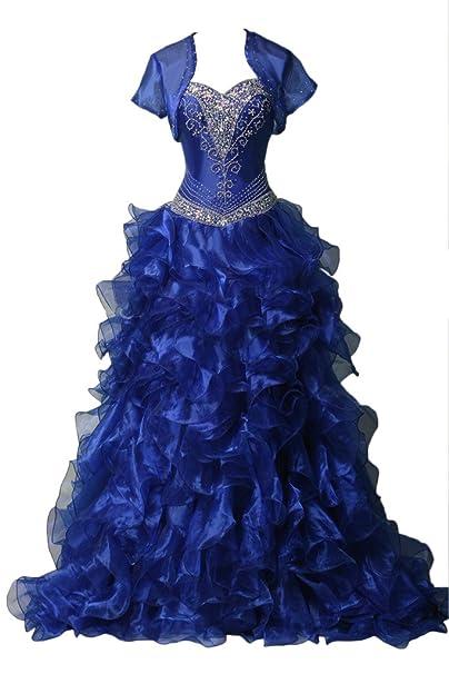 sunvary una línea Sweetheart Cuello con un chaleco quinceañera Fiesta Vestidos de novia Azul azul real