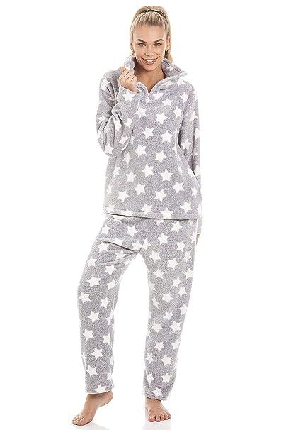 Camille Pijama de Forro Polar Aterciopelado - Estampado de Estrellas Blancas - Gris: Amazon.es: Ropa y accesorios
